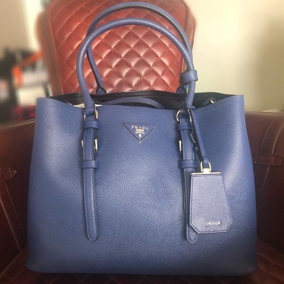 19922a2b6e5021 Prada Bags | Saffiano Cuir Medium Double Bag Ink Blue | Poshmark